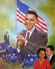 This print is a montage of images of President Barack Obama and First Lady Michelle Obama with the American flag in the background