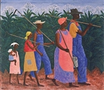 This print depicts a group of field workers on their way to or from work in a field