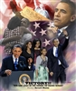 This print is a montage of images of President Barack Obama and the First Lady Michelle Obama on inauguration day