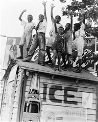 African American Boys with Coca-Cola Sign, Little Rock, AR, 1938