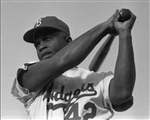 Jackie Robinson Swinging Bat