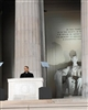 This print depicts President Barack Obama giving his Lincoln Memorial speech on January 18, 2009