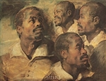 Four Negro Heads by Peter Paul Rubens