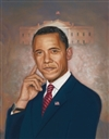 This print depicts President Barack Obama posed with the White House in the background