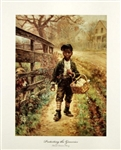 Protecting the Groceries - Vintage Art Print of Young African American Boy