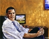 This print depicts President Barack Obama in a seated pose by African American artist Andrew Nichols