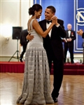 This print is a photograph of President Barack Obama and First Lady Michelle Obama dancing on the occasion of the Nobel Ball.