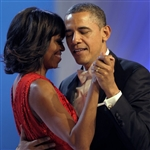 This print is a photograph of President Barack Obama and First Lady Michelle Obama dancing on the occasion of the 2nd Inaugural Ball.