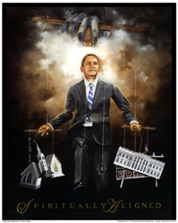 Spiritually Aligned by Edwin Lester portrays President Obama as a human puppet with the hands of God controlling the strings
