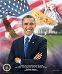 Barack Obama 2015 by Gregory Wishum is a portrait and montage of images of Barack Obama the 44th president of the United States.