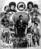This print is a photo montage of members and activities of the Black Panther Party, a Black militant group founded in Oakland in 1966 to protect Black neighborhoods against police brutality.