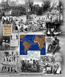 A composite print pictorially depicting the history of African Americans from the slave trade through slavery and to the present as enfranchised Americans.