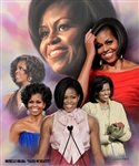 This print is a montage of images of the First Lady Michelle Obama in various settings