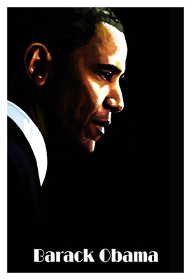 This print is a side profile of President Barack Obama by the artist H. Abavista