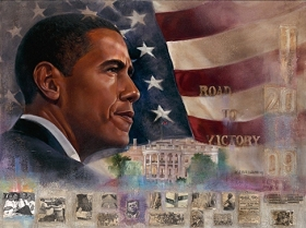 This print depicts a heroic portrait of President Barack Obama with the U.S. Flag in the background