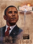 This print is a portrait of President Barack Obama with the White House in the background