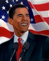 This print portrays a smiling President Barack Obama