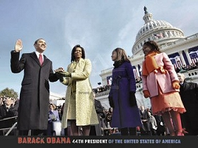 This is a photographic print of President Barack Obama taking the Oath of Office on January 20, 2009