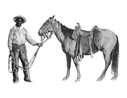 Black Cowboy and Horse