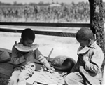 African American Boys Eating Watermelon and Playing Checkers, Florence, SC, 1938