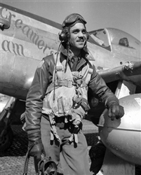 Tuskegee Airman Edward Gleed Posed with P-51 Aircraft
