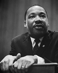 This photo print depicts a close-up of Dr Martin Luther King at the podium at the March on Washington in 1964