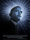 This is an artist portrait of President Barack Obama done in an art deco style