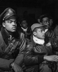 Members of the 332nd Fighter Group at briefing, Ramitelli, Italy, 1945